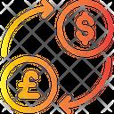 Exchange Dollar To Pound Icon