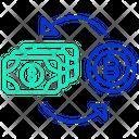 Exchange Money With Bitcoin Icon