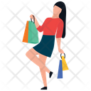 Excited Girl Shopping Girl Shopping Bags Icon