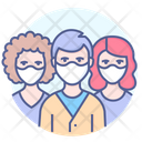 Masked People Group Face Icon