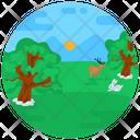 Farm Meadow Farm Landscape Icon