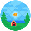 Countryside Farmhouse Farm Hut Icon