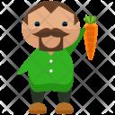 Farmer Farming Carrot Icon