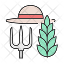 Farming Equipment Hat Leaf Icon