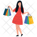 Fashionable Girl Shopping Girl Shopping Bags Icon