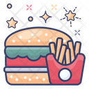 Fast Food Burger And Fries Junk Food Icon