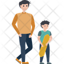 Adventure Dad Son Surf Rider Icon