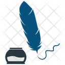 Feather With Ink Bottle Ink Bottle Icon