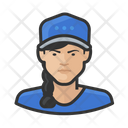 Female Baseball Player Baseball Caps Icon