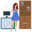 Female Employee Job Holder Worker Icon
