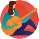 Playing Guitar Guitar Player Female Guitarist Icon