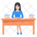 Female Librarian Library Incharge Bibliographer Icon