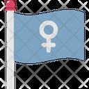 Female Sign On Flag Female Femenine Icon