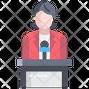 Artboard Female Speaker Conference Icon