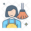 Female Sweeper House Work Sweep Floor Icon