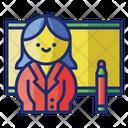 Female Teacher W Whiteboard Marker Icon