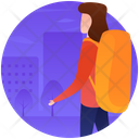 Female Tourist Traveller Hiking Icon