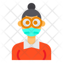 Female With Facemask Icon