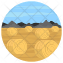 Field Landscape Hay Bale Countryside Icon