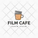Film Cafe Hot Coffee Cafe Logomark Icon