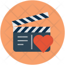 Film clapper with heart Icon