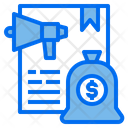 Megaphone File Money Bag Icon
