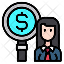 Business Woman Find Icon