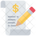 Financial Report Writing Money Icon