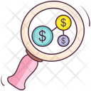 Financial Research Money Research Finding Money Icon