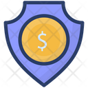 Bank Safety Dollar Shield Financial Security Icon