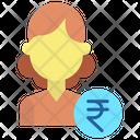 Ifemale Rupees Financial Woman Financier Icon