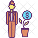 Financier Investor Money Plant Icon