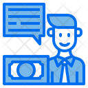 Man Chat Box Money Icon
