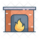 Fire Place Chimney Flames Icon