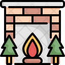Fireplace Christmas Tree Icon