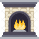 Fireplace Christmas Winters Icon