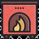 Fireplace Christmas Decoration Icon