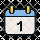 First Day Calendar Newyear Icon