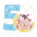 Five Cartoon Number Icon