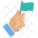 Flag Gesture Holding Icon