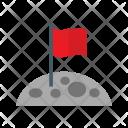 Flag At Moon Icon