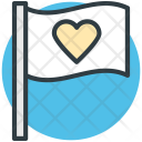 Flag Heart Sign Icon