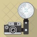 Vintage camera with flash Icon
