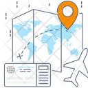 Flight Navigation Aeroplane Tracking Aircraft Route Icon