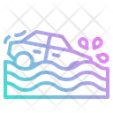 Flood Car Accident Icon