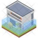 Flooded Home Building Icon