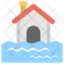 Flood Flooded House Water Disaster Icon