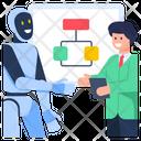 Business Meeting Robot Flowchart Robotic Handshake Icon