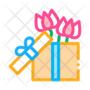 Flower Gift Box Icon
