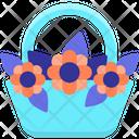Flower On Basket Flower Bouquet Flowers Icon